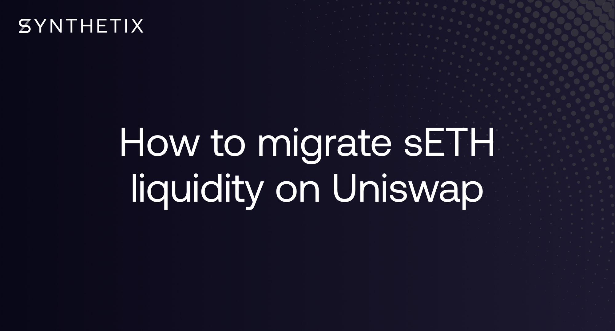 Guide: how to migrate sETH liquidity on Uniswap