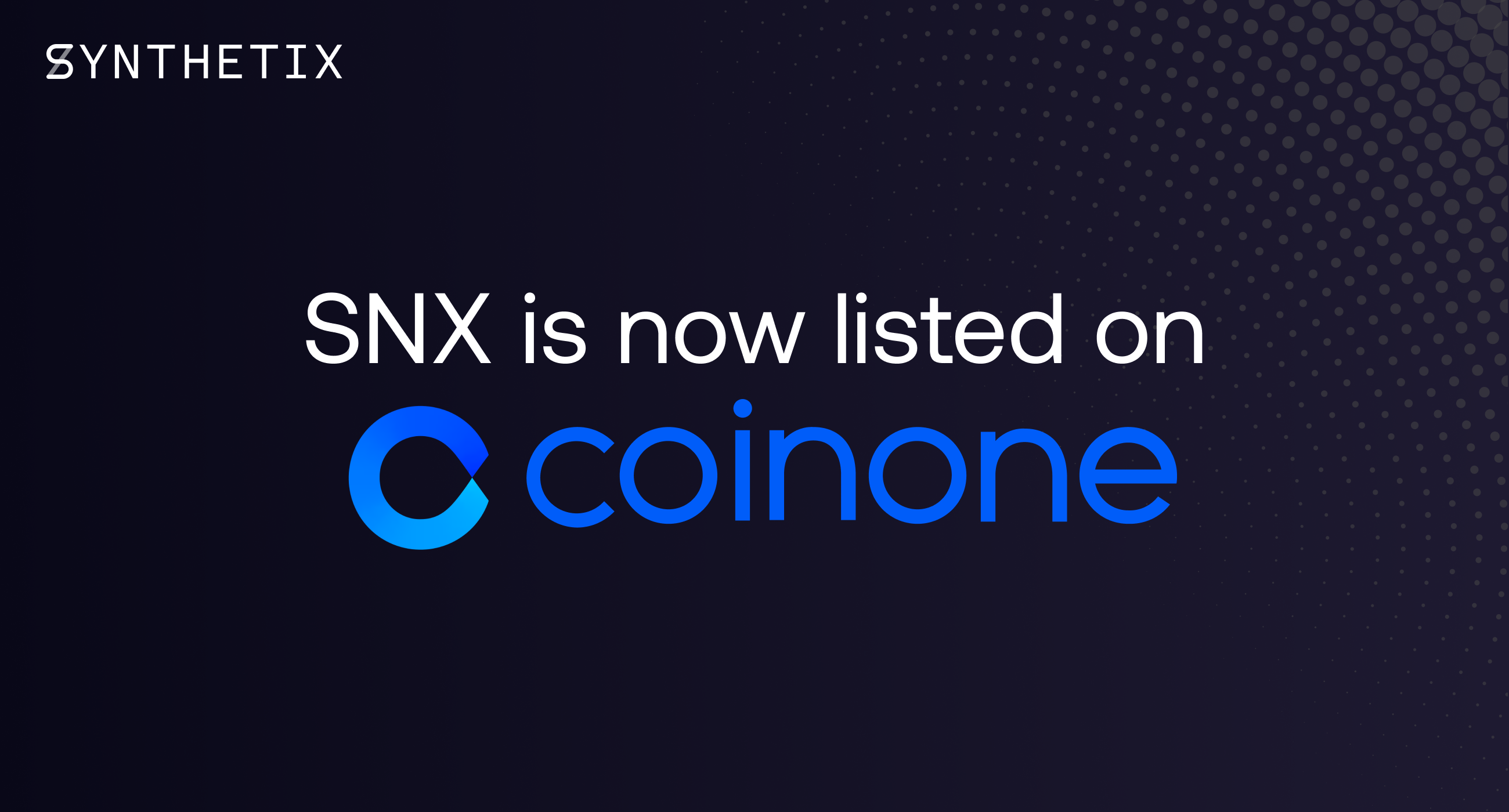 SNX is now listed on Coinone!